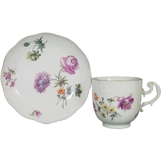 Meissen Coffee Cup and Saucer C1745 18th Century