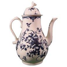 Worcester Mansfield Pattern Coffee Pot, C1770