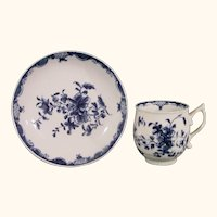 Worcester Mansfield Pattern Cup and Saucer, Pixie Ear Handle C.1770