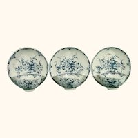 Three Worcester Mansfield Pattern Cups and Saucers C1770