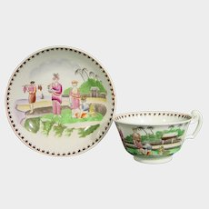 Hilditch-Style Staffordshire Chinoiseries Cup and Saucer, Pattern 115, c.1820 English Porcelain