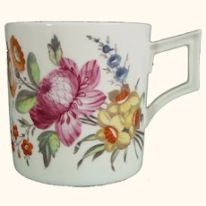 Antique Porcelain Derby Mug or Coffee Can Decorated with Flowers C.1820.