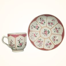 Chinese Export Coffee Cup and Saucer Mid-18thc.