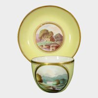Early Minton Tea Cup & Saucer with Landscapes, Yellow Ground Pattern 306 C.1805 Antique Porcelain.