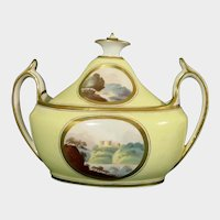 Early Minton Sugar Bowl with Landscapes ,Yellow Ground Pattern 306 C.1805 Antique Porcelain