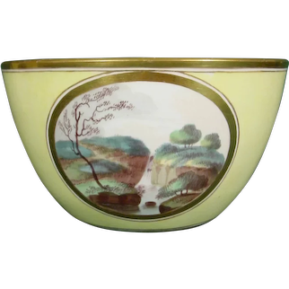 Early Minton Waste Bowl from a Tea Set, Landscapes Yellow Ground Pattern 306 C.1805.