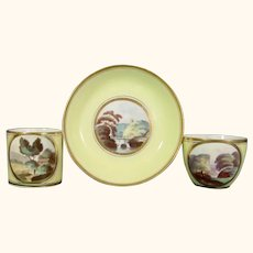 Early Minton Tea & Coffee Cups & Saucer with Landscapes Yellow Ground Trio Pattern 306 C.1805.