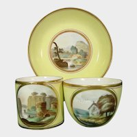 Early Minton Tea & Coffee Cup & Saucer with Landscapes, Yellow Ground Trio Pattern 306 C.1805.