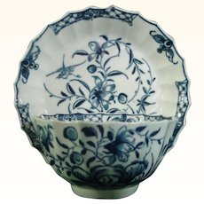 Worcester Teabowl and Saucer Rocks and Bamboo Pattern C.1760