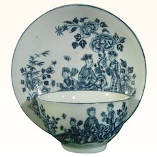 Worcester Teabowl and Saucer, Chinese Woman Pattern C.1765