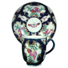 Worcester Antique Porcelain Blue Scale Coffee Cup and Saucer with Exotic Birds c.1770.
