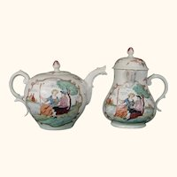 Hochst Porcelain Teapot and Hot Water Jug Decorated in Holland C.1780