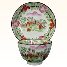 Pearlware Teabowl and Saucer with Very Colorful Chinoiseries Decoration Early 19thc.