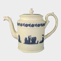 William Hackwood Teapot or Coffeepot like Wedgwood Antique Jasperware Unusual c.1820.