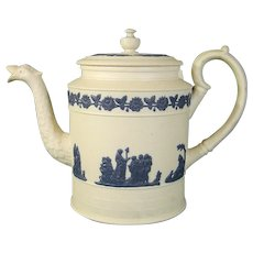 WIlliam Hackwood Teapot or Coffeepot in Wedgwood Antique Jasperware Style with Unusual Features c.1820.