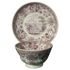 Ridgway Transfer Printed Purple Cup and Saucer in the Tyrolean Pattern c.1845.