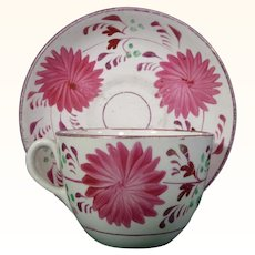 Staffordshire Cup and Saucer with Pink Flowers c.1850.