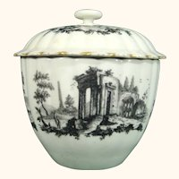 Dr. Wall Worcester Fluted Sugar Bowl with Printed Scenes of Roman Ruins c.1775.