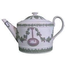 Antique Wedgwood Jasper Tricolor Teapot C.1800