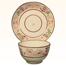 Bright Bone China Teabowl and Saucer, Thistle decoration c.1810.