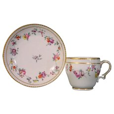 Bristol Antique 18th Century Porcelain Cup and Saucer c.1775 Decorated with Swags of Flowers.