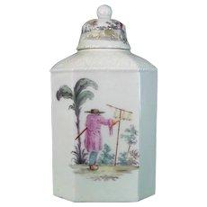 Closter-Veilsdorf Fine and Rare Antique Porcelain Tea Caddy, c1765.