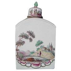 Ludwigsburg Antique German Porcelain Tea Caddy, c1775.