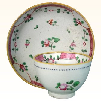 Staffordshire Pearlware Miniature Child's Cup and Saucer in Chinese Export Style c.1785.