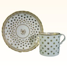 Spode Gilded Coffee Can and Saucer in a Caughley Pattern, C.1815