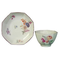 c.1755 Octagonal Chelsea Teabowl and Saucer with Flowers and Butterflies Red Anchor Mark.
