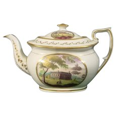 New Hall Pattern 1053 Teapot with Landscape Panels C.1815