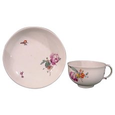 Fulda Antique German 18th Century Porcelain Teacup and Saucer c.1770 with Polychrome Flowers.