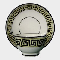 Staffordshire Miniature Child's Creamware Teabowl and Saucer in a Greek Meander Design c.1780.