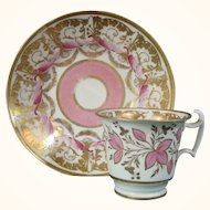 Spode Teacup and Saucer in a Stunning Pink and Gilt Royal Design with Scrolls c.1818.