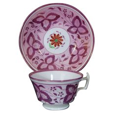 Antique Staffordshire Purple Luster Cup and Saucer c.1830.