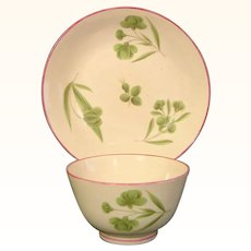 Staffordshire Pearlware Teabowl and Saucer in Wedgwood Style c.1800.