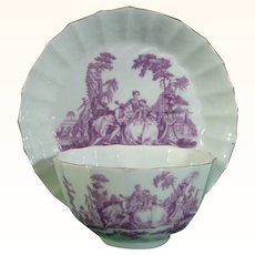 Rare Purple Worcester Tea Party Pattern Teabowl and Saucer C.1770.