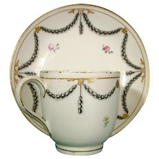 Chelsea-Derby Coffee Cup and Saucer in Classical Style C1775