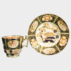 Early Spode Cup and Saucer in Pattern 1956 Imari Colors London Shape C1815 Porcelain Bone China 19th.