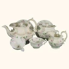 13 Pcs. Staffordshire Porcelain Tea Set, Rare Shape, Teapot, Creamer, Sugar, 5 Cups & Saucers Victorian C.1830