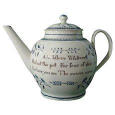Dated 1798 Pearlware Teapot From Wildswirth Lincolnshire
