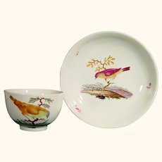 Ansbach Cup and Saucer Decorated with Birds C.1780.