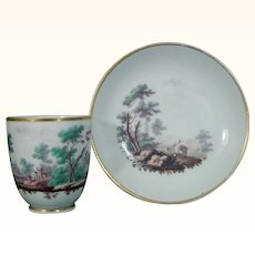 Doccia Cup and Saucer with Landscapes in Polychrome c.1775