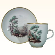 Doccia Cup and Saucer with Landscapes in Polychrome c.1775.