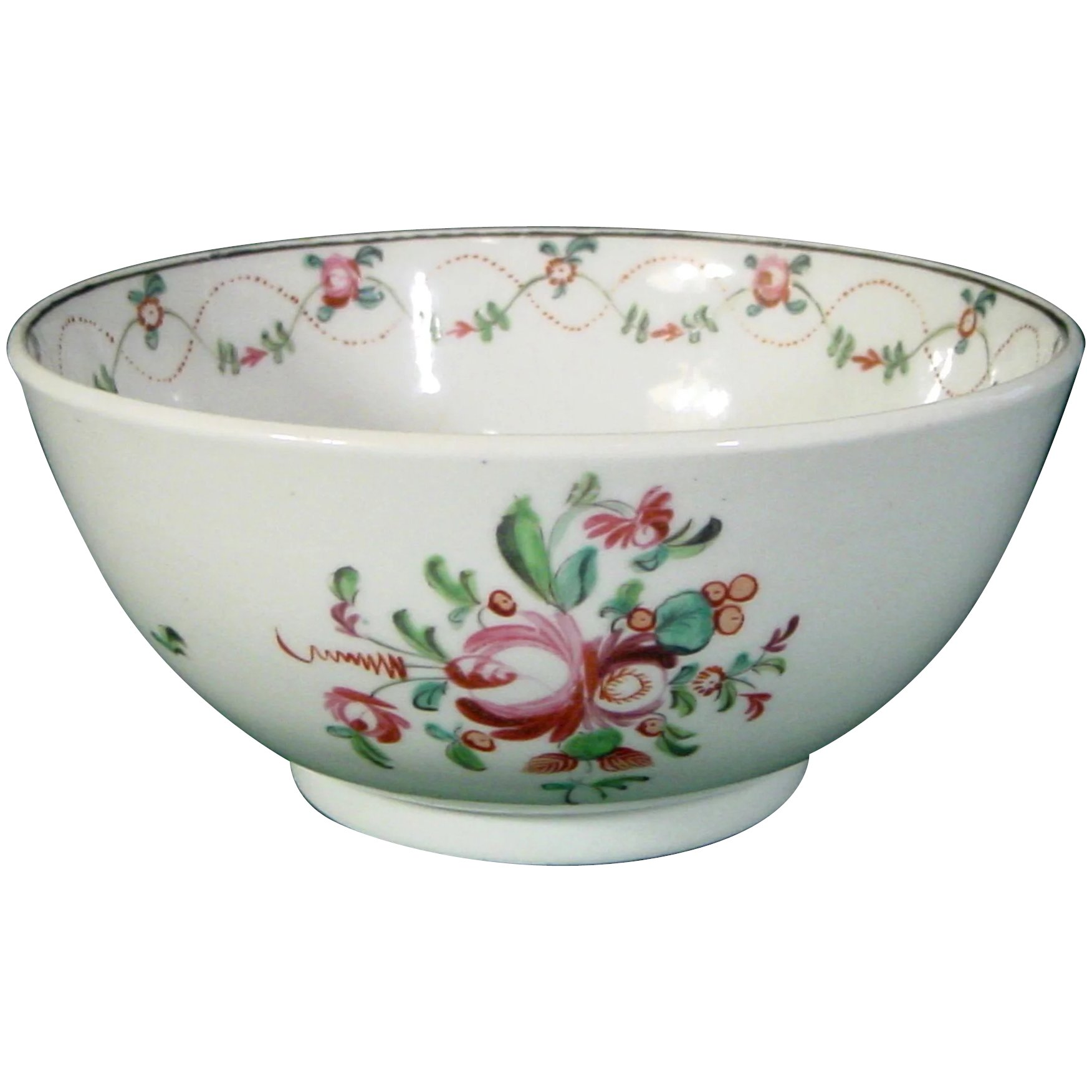 New Hall English Hard Paste Porcelain Bowl from a Tea Set in Pattern 7.