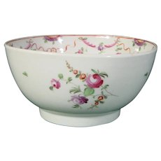 18th-Century New Hall Porcelain Bowl in Pattern 195 c.1790