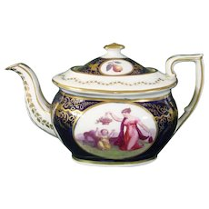 New Hall 18thc. Porcelain Teapot With Buck-Style Prints, Pattern 1277 c.1810.