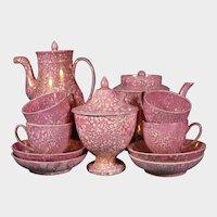 C1810 Creil (pre Montereau) Tea & Coffee Set Pink Luster Sunderland style Antique Pottery France French