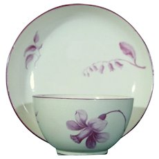 Antique 18th Century Wedgwood Creamware Teabowl and Saucer with Spring Flowers, Likely Painted by James Bakewell c.1772.