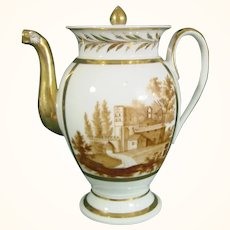 Continental Coffeepot with Monochrome Castles C1810.